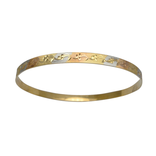 Tricolor Flower Diamond Cuts Bangle Bracelet (14K)