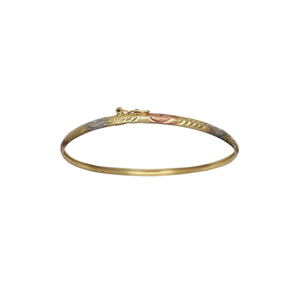 Tricolor Heart Brushed-Finish Diamond Cuts Bangle Bracelet (14K)
