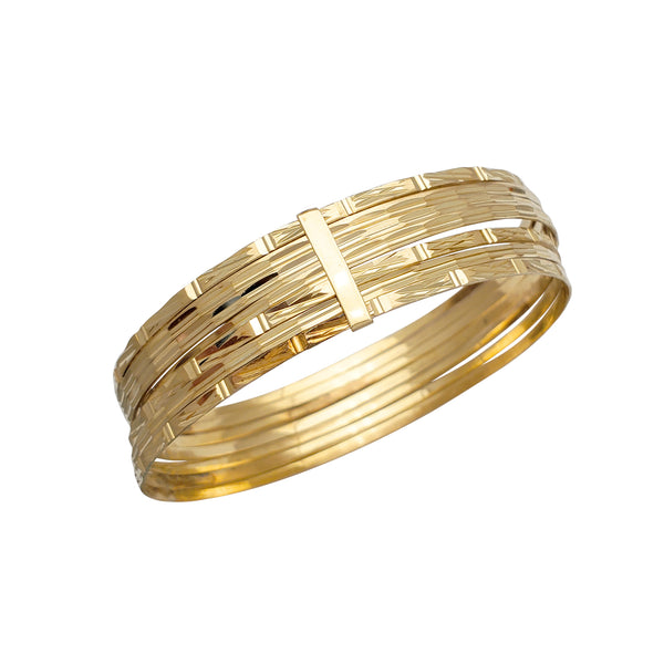 Semanario Bamboo Textured Diamond Cuts Bangle Bracelet (14K)