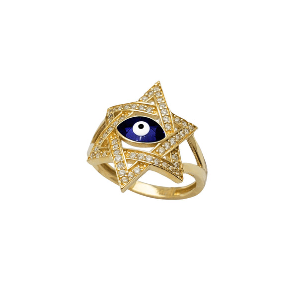 Zirconia Star of David Evil Eye Ring (14K)