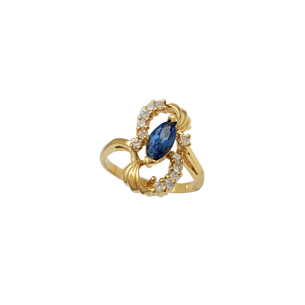 Blue Marquise Zirconia Lady Ring (14K)