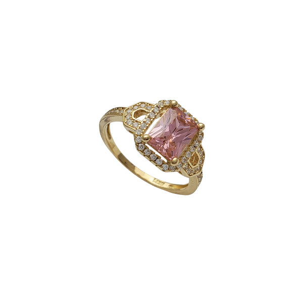 Pink Zirconia Radiant Shape Lady Ring (14K)