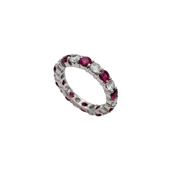 Zirconia White-Red Eternity Ring (14K)