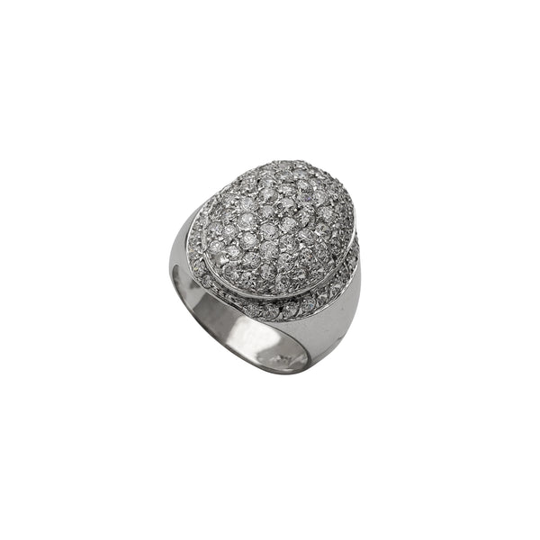 Zirconia Oval Signet Ring (14K)