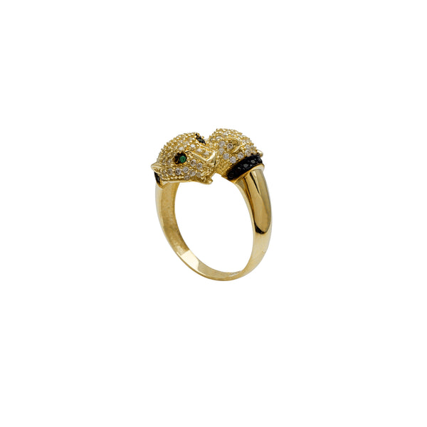 Zirconia Green-Eyes Panther Head Bypass Ring (14K)