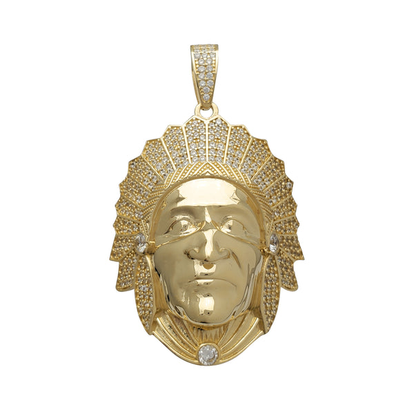 Zirconia Iced-Out Indian Head Pendant (14K)