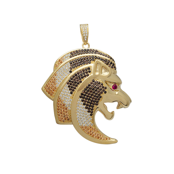 Zirconia Red-Eye Lion Head Pendant (14K)