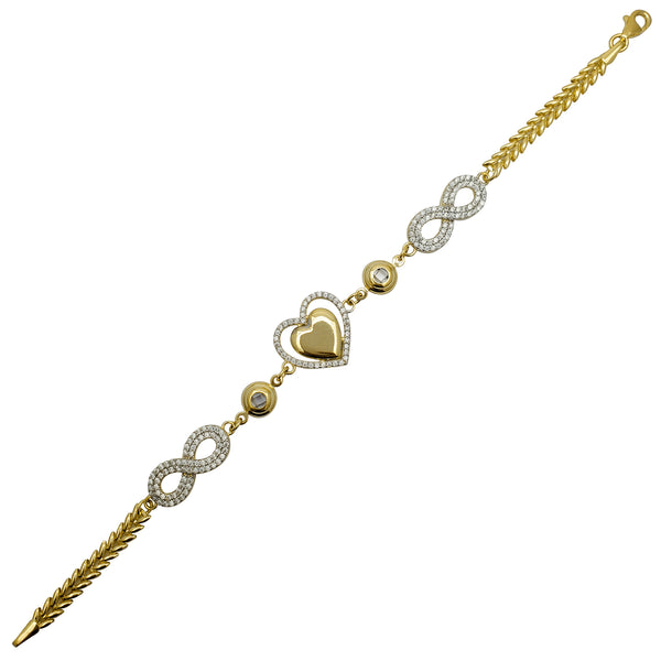 Zirconia Infinity Sign & Heart Fancy Bracelet (14K)