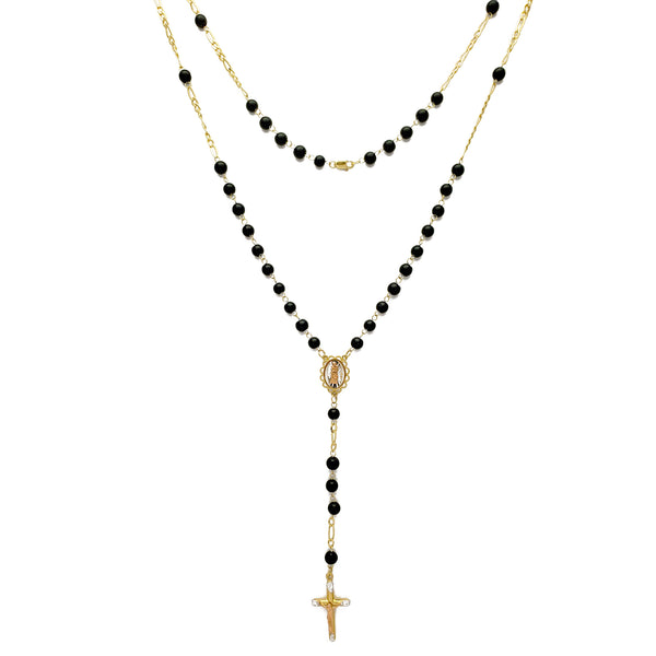 [Round] Onyx Rosary Necklace (14K)