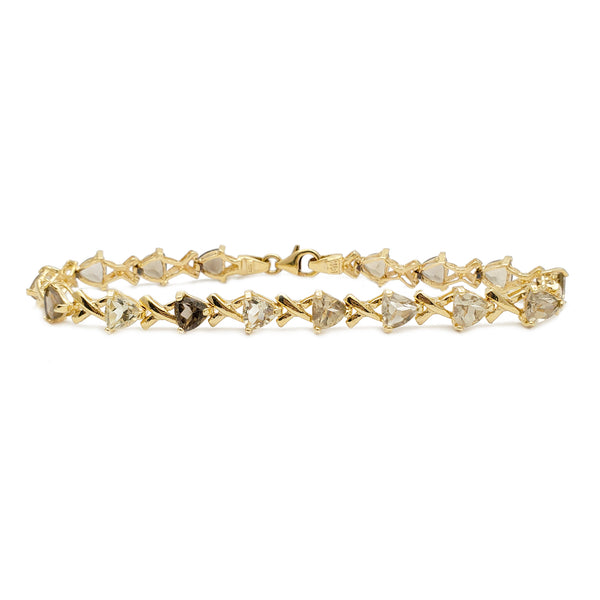 Zirconia Trilliant & Cross Bracelet (14K)