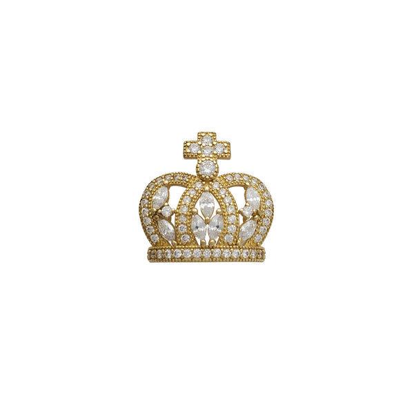 Zirconia Cross Tiara/Crown Pendant (14K)