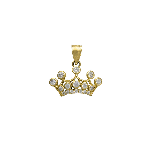 Milgrained Bezel Zirconia Tiara/Crown Pendant (14K)