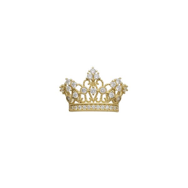 Zirconia Milgrained Tiara/Crown Pendant (14K)