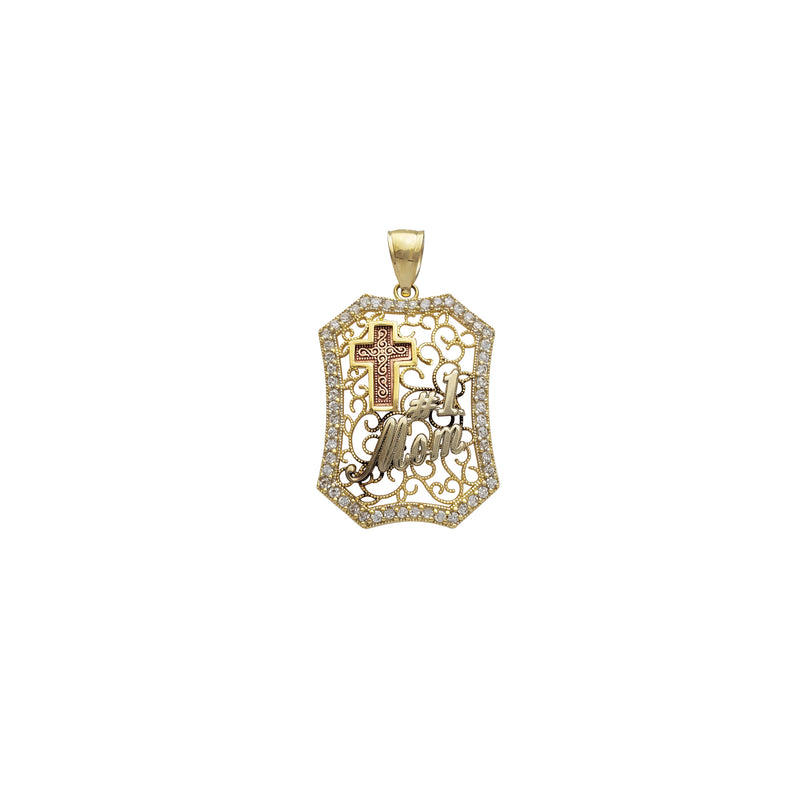 Milgrained Cross & #1 Mom Pendant (14K)