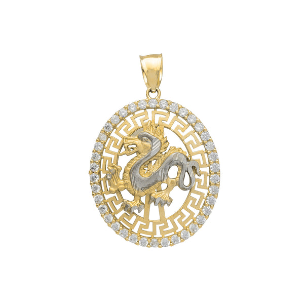 Zirconia Greek-Frame Dragon Pendant (14K)