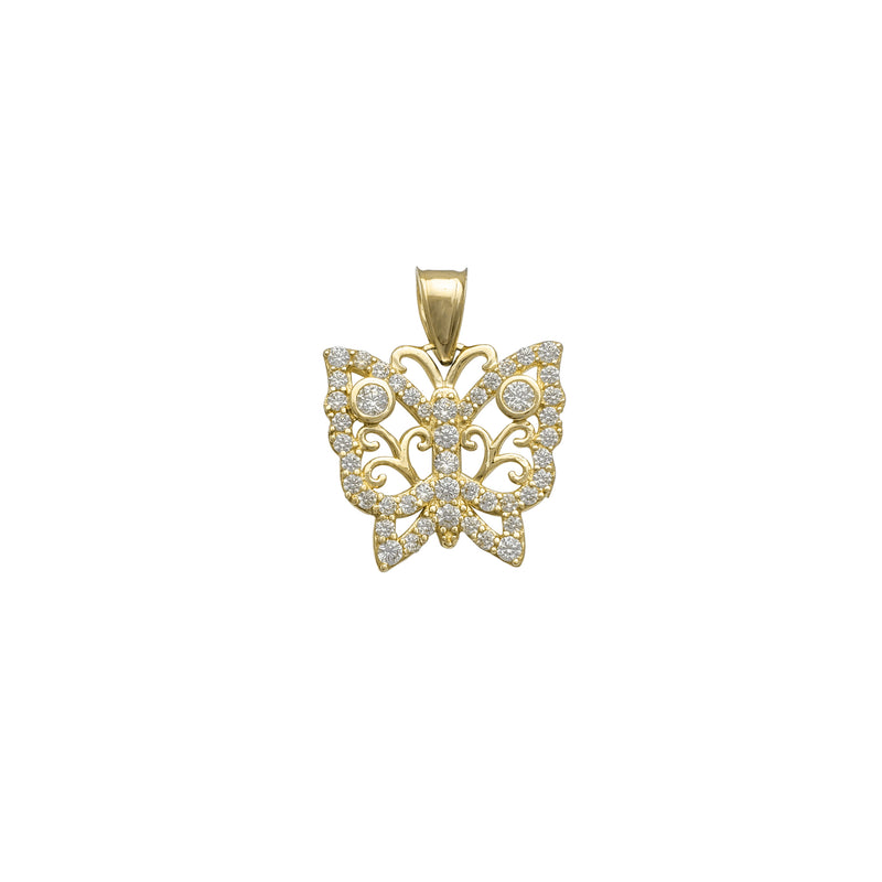 Zirconia Outline Butterfly Pendant (14K)