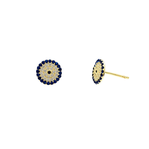Zirconia Blue Round Stud Earrings (14K) Popular Jewelry New York