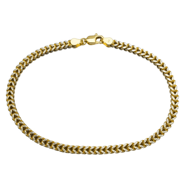 Lightweight Two-Tone Franco Bracelet (14K)