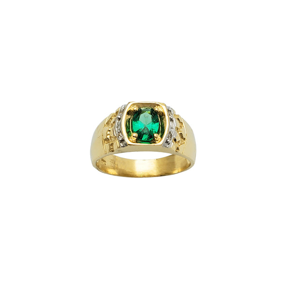 Green-Oval Zirconia Nugget Ring (14K)
