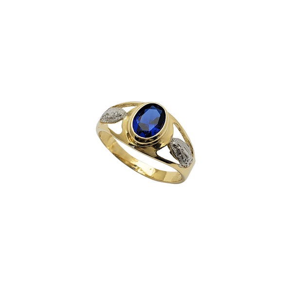 Bezel Blue Zirconia Virgin Mary Ring (14K)