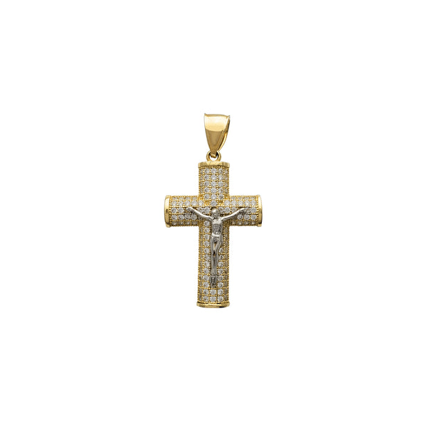 Iced-Out Puffy Crucifix Pendant (14K)