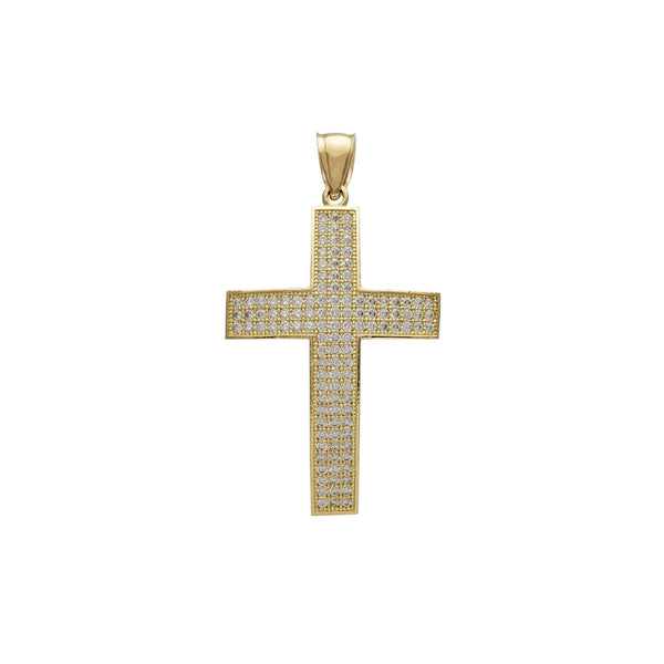 Iced-Out Convex Cross Pendant (14K) Popular Jewelry New York