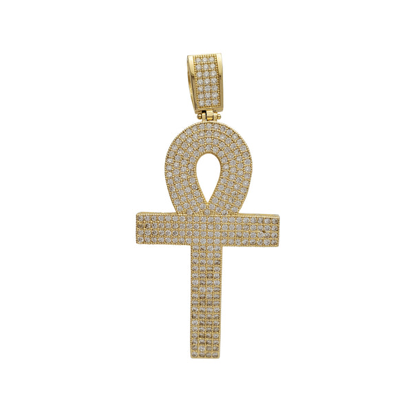 Zirconia Iced-Out Ankh Pendant (14K)