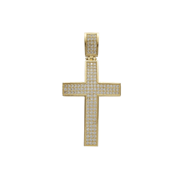 Zirconia Convex Cross Pendant (14K)