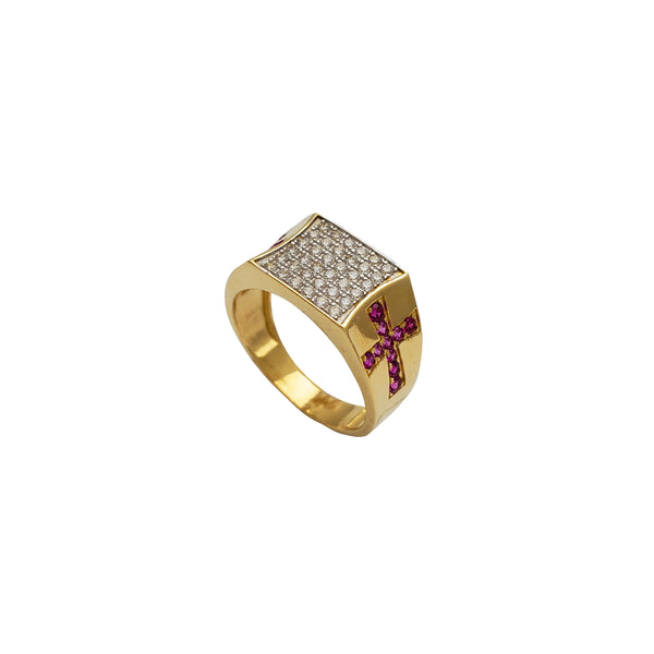 Iced-Out Concave Square Cross Men's Ring (14K)