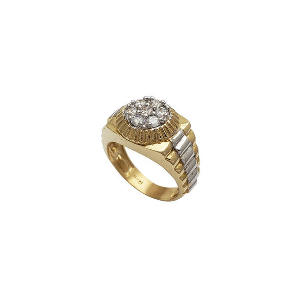 Zirconia Fluted Presidential Men's Ring (14K) Popular Jewelry New York