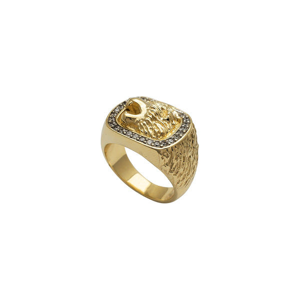Zirconia Solid Lion Head Men's Ring (14K)