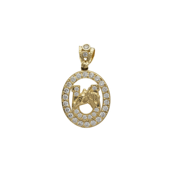 Zirconia Oval Frame Horseshoe Horse Head Pendant (14K) Popular Jewelry New York