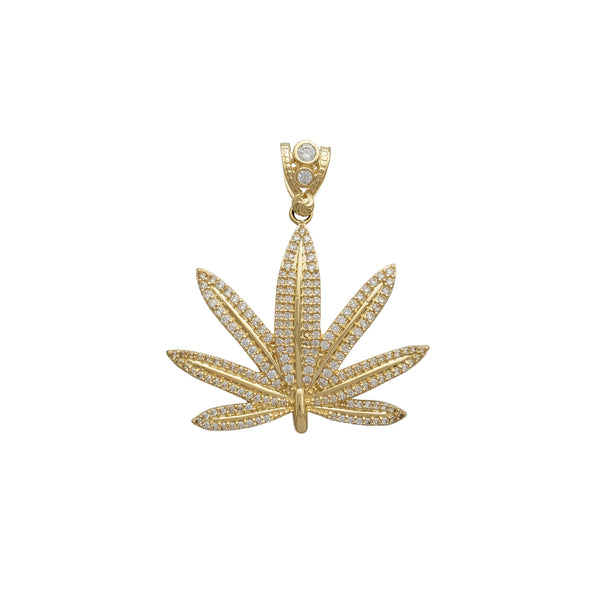 Zirconia Cannabis Pendant (14K) Popular Jewelry New York