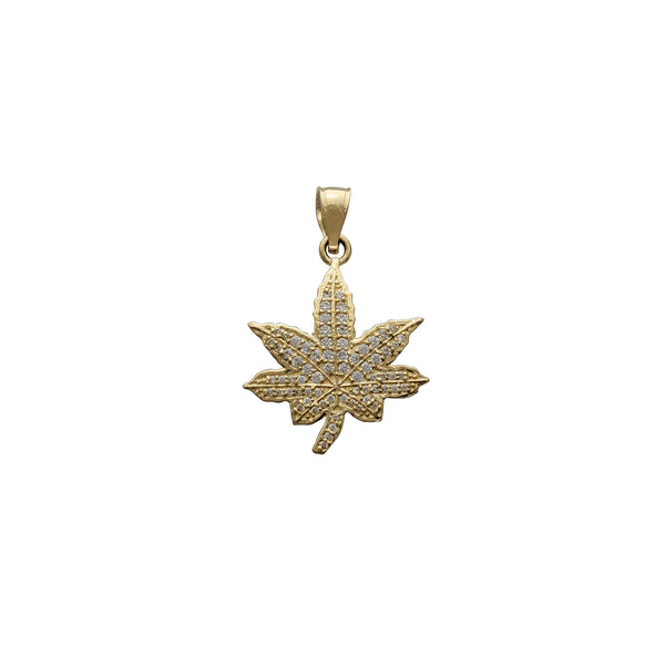 Zirconia Cannabis Leaf Pendant (14K) Popular Jewelry New York