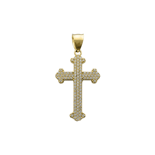 Iced-Out Budded Cross Pendant (14K) Popular Jewelry New York