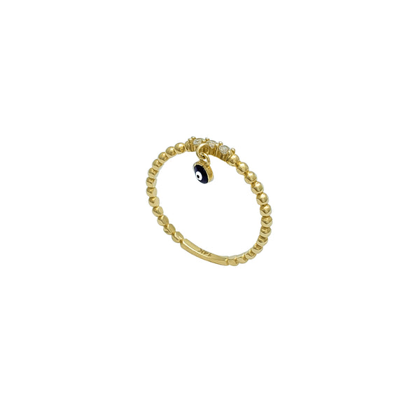 Beaded Evil Eye Dangling Ring (14K) Popular Jewelry New York