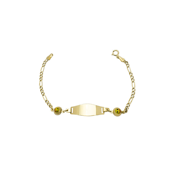 Yellow Happy Face Figaro Baby ID Bracelet (14K)