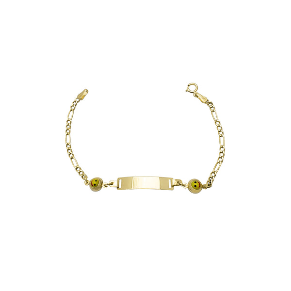 Yellow Happy Face Figaro Baby ID Bracelet (14K) Popular Jewelry New York