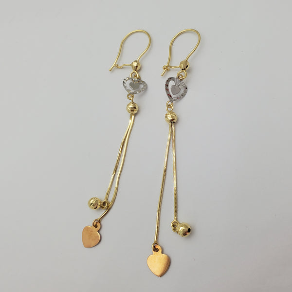 Tri-Tone Heart Dangling Earrings (14K)
