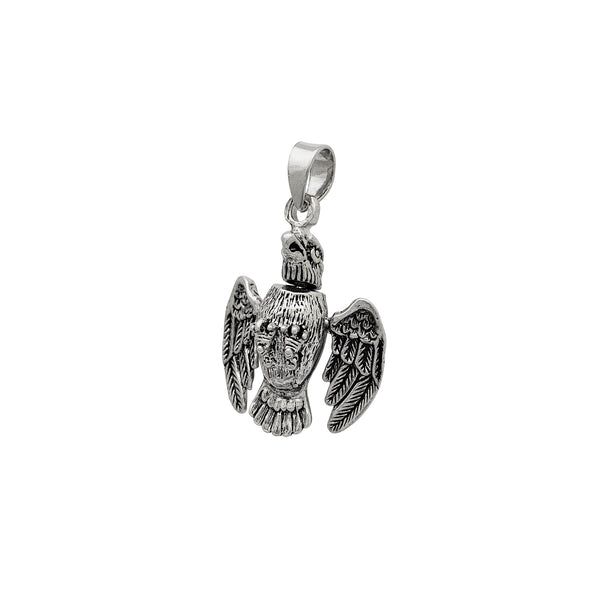 Silver Antique-Finish 3D Eagle Pendant (14K) Popular Jewelry New York
