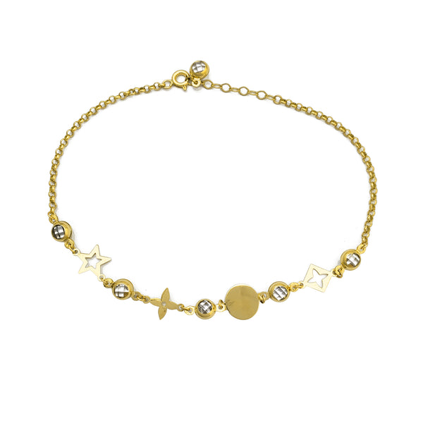 Zirconia Charms Rolo Link Anklet (14K) Popular Jewelry New York