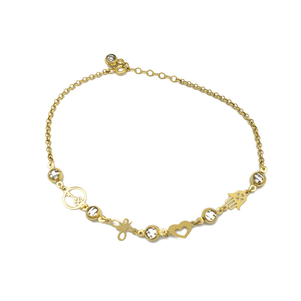 Zirconia Charms Rolo Link Anklet (14K)
