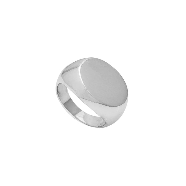 Hollow Oval-Sideways Signet Ring (Silver)