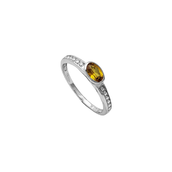 Yellow Zirconia Oval Shape Engagement Ring (Silver)