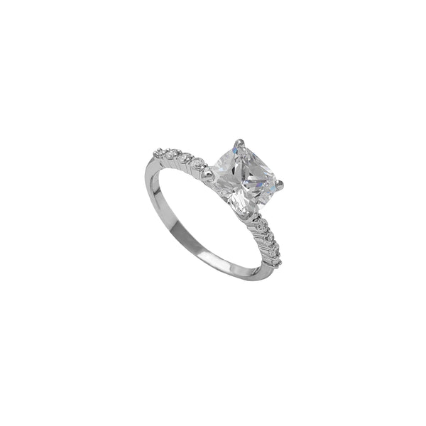 Zirconia Radiant Shape Engagement Ring (Silver) Popular Jewelry New York