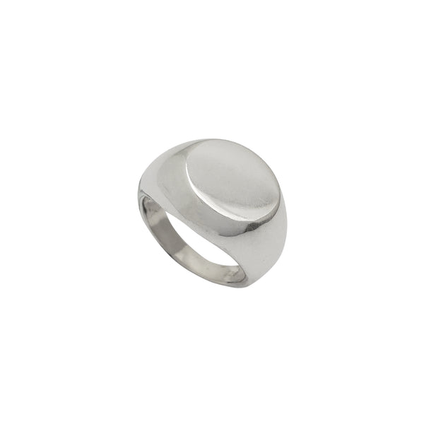Hollow Round Signet Ring (Silver)