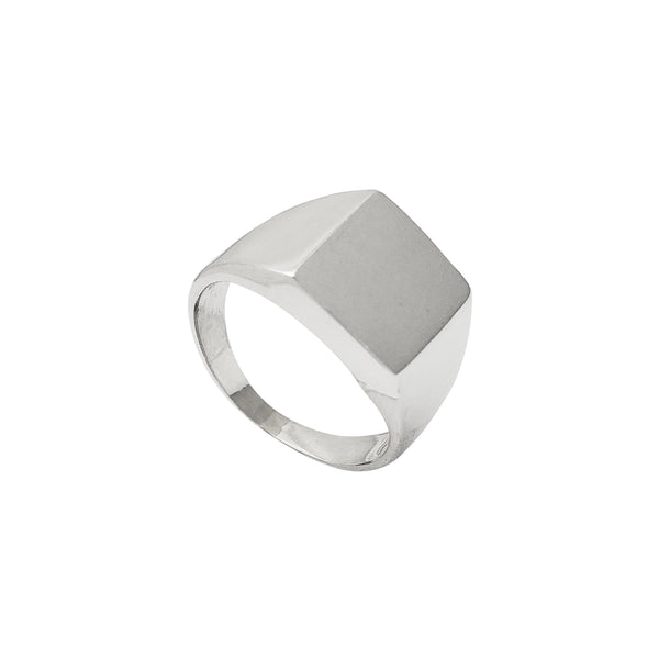 Hollow Rectangular Signet Ring (Silver) Popular Jewelry New York