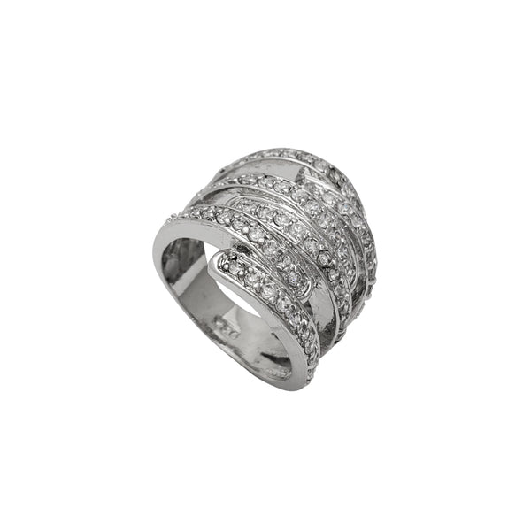 Zirconia Cocktail Band Ring (Silver) Popular Jewelry New York