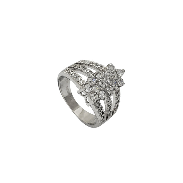 Zirconia Cluster Flower 3-Row Ring (Silver)