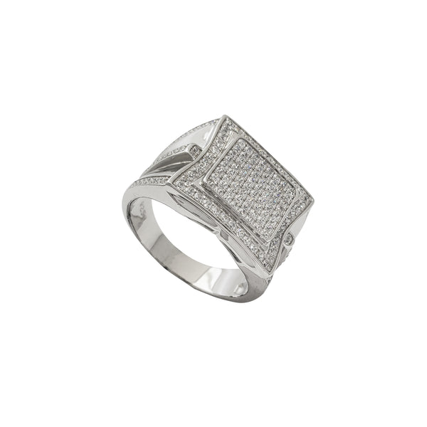 Zirconia Iced-Out Square Ring (Silver)